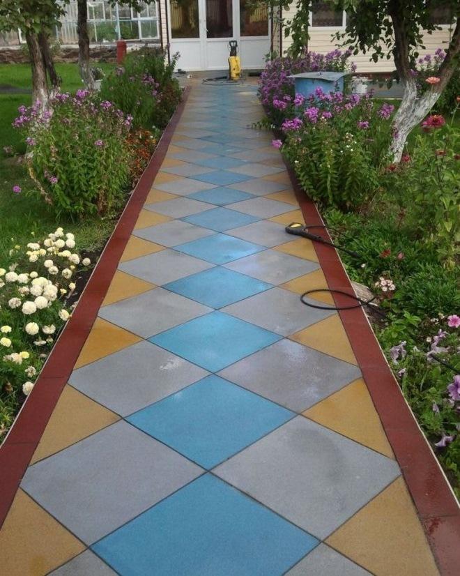 Дорожки в саду из тротуарной плитки