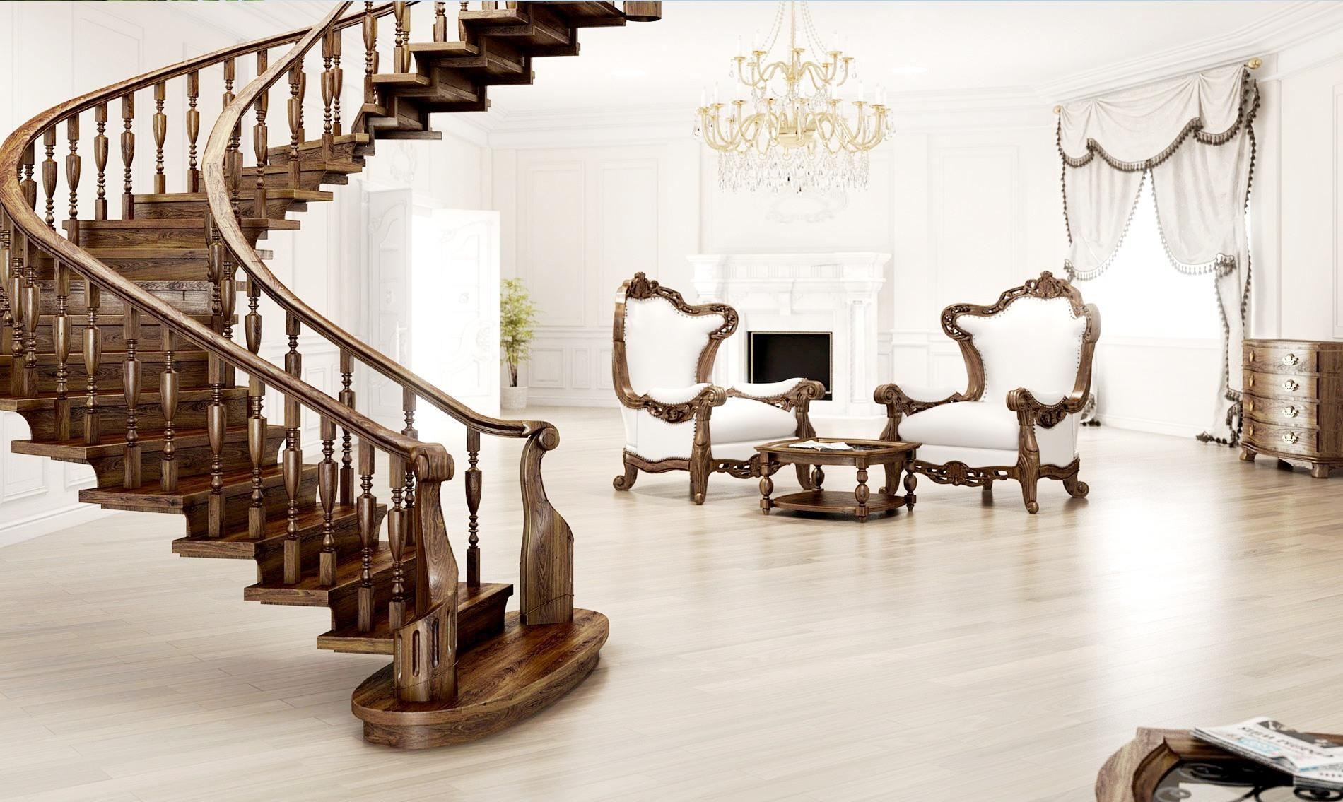 Темная деревянная лестница в классическом интерьере