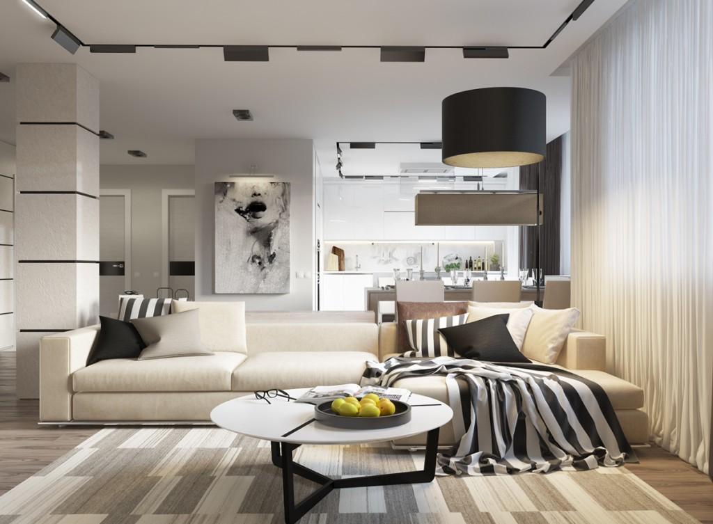 Черно-белая гостиная-кухня с кремовыми акцентами