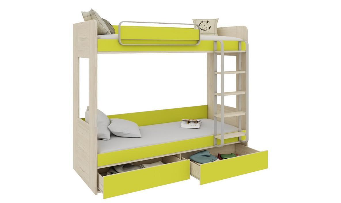 Бело-зеленая двухъярусная кровать для двух детей