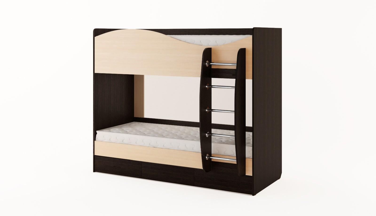 Бежево-черная двухъярусная кровать для детской комнаты