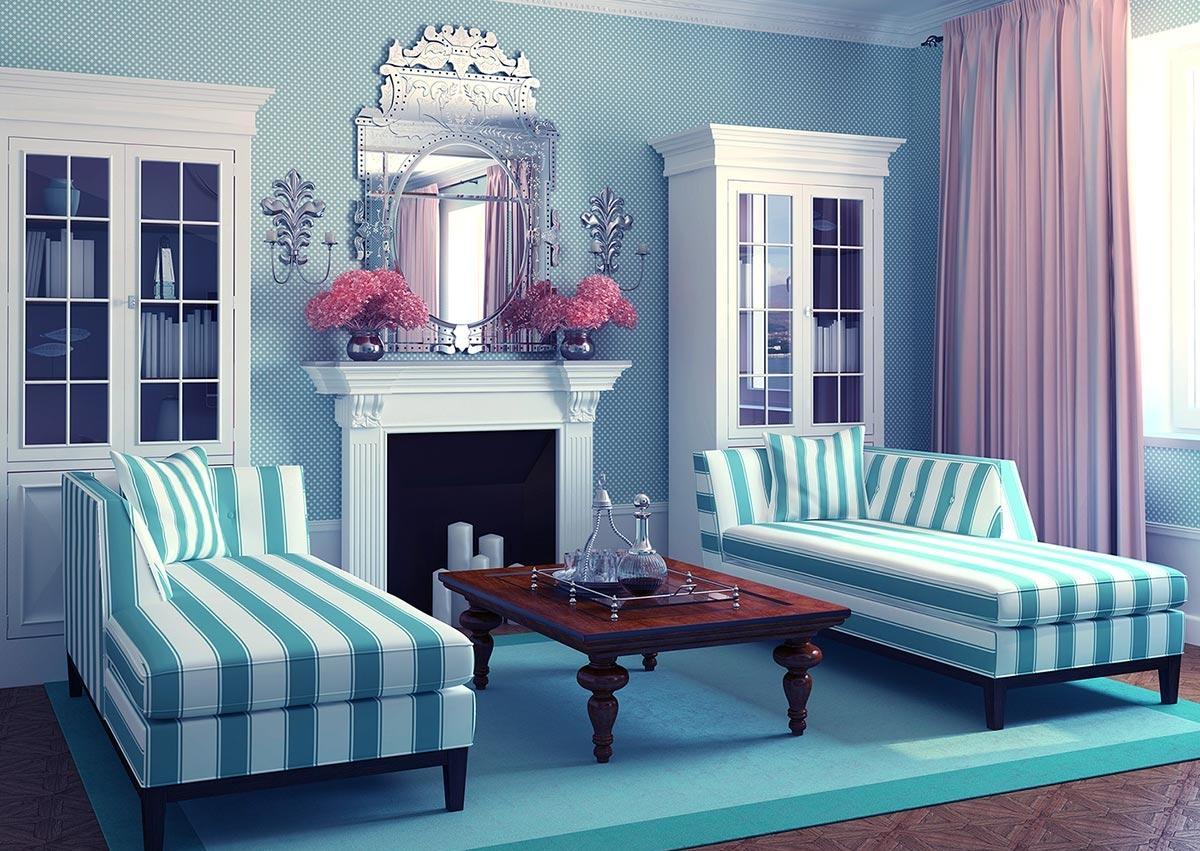 Голубовато-синий оттенок бирюзового в гостиной