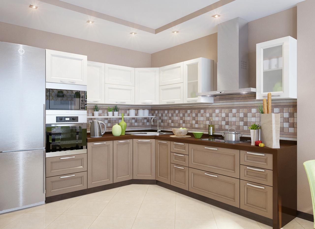 Стильный угловой гарнитур на кухне