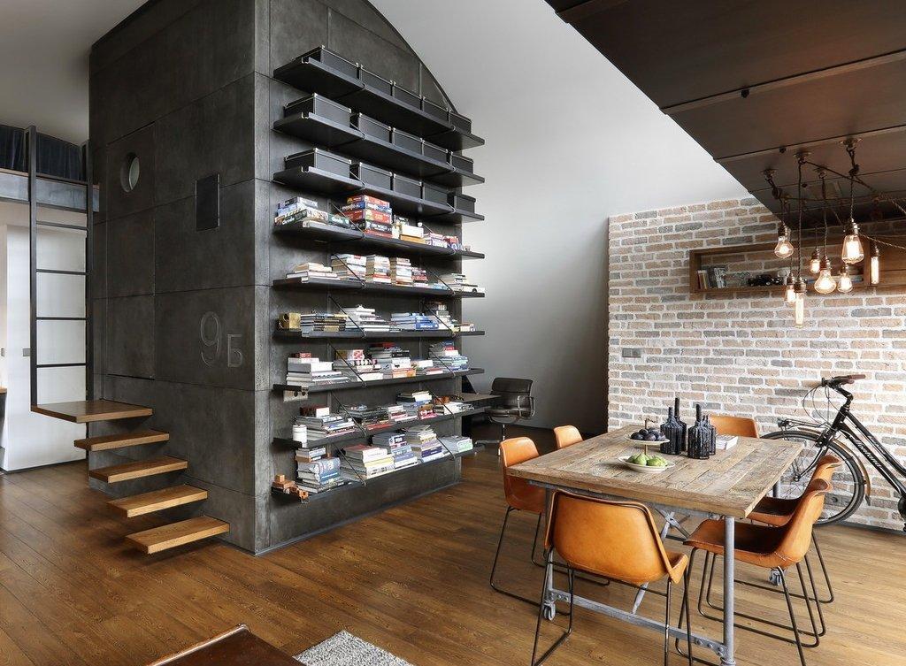 Черный стеллаж в интерьере в стиле лофт