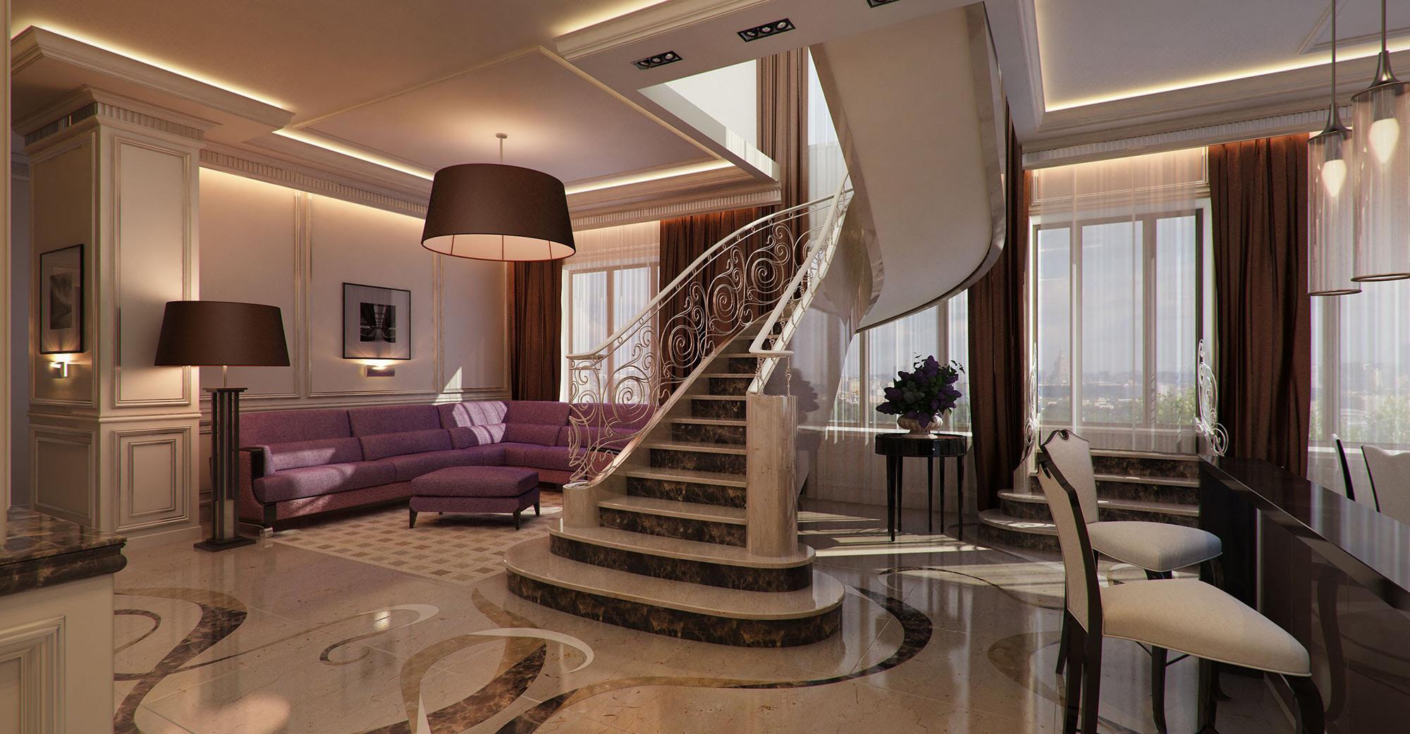 Проект роскошной двухуровневой квартиры