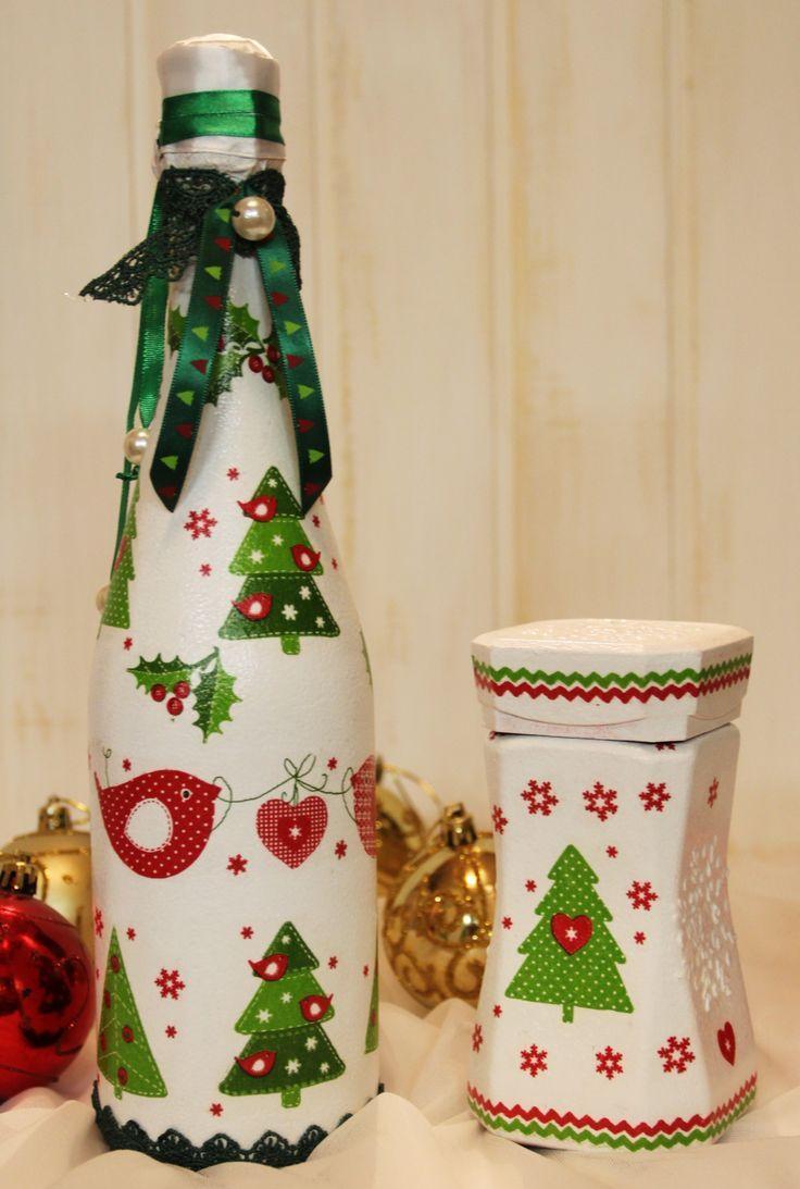Новогодний декупаж бутылки шампанского с принтом
