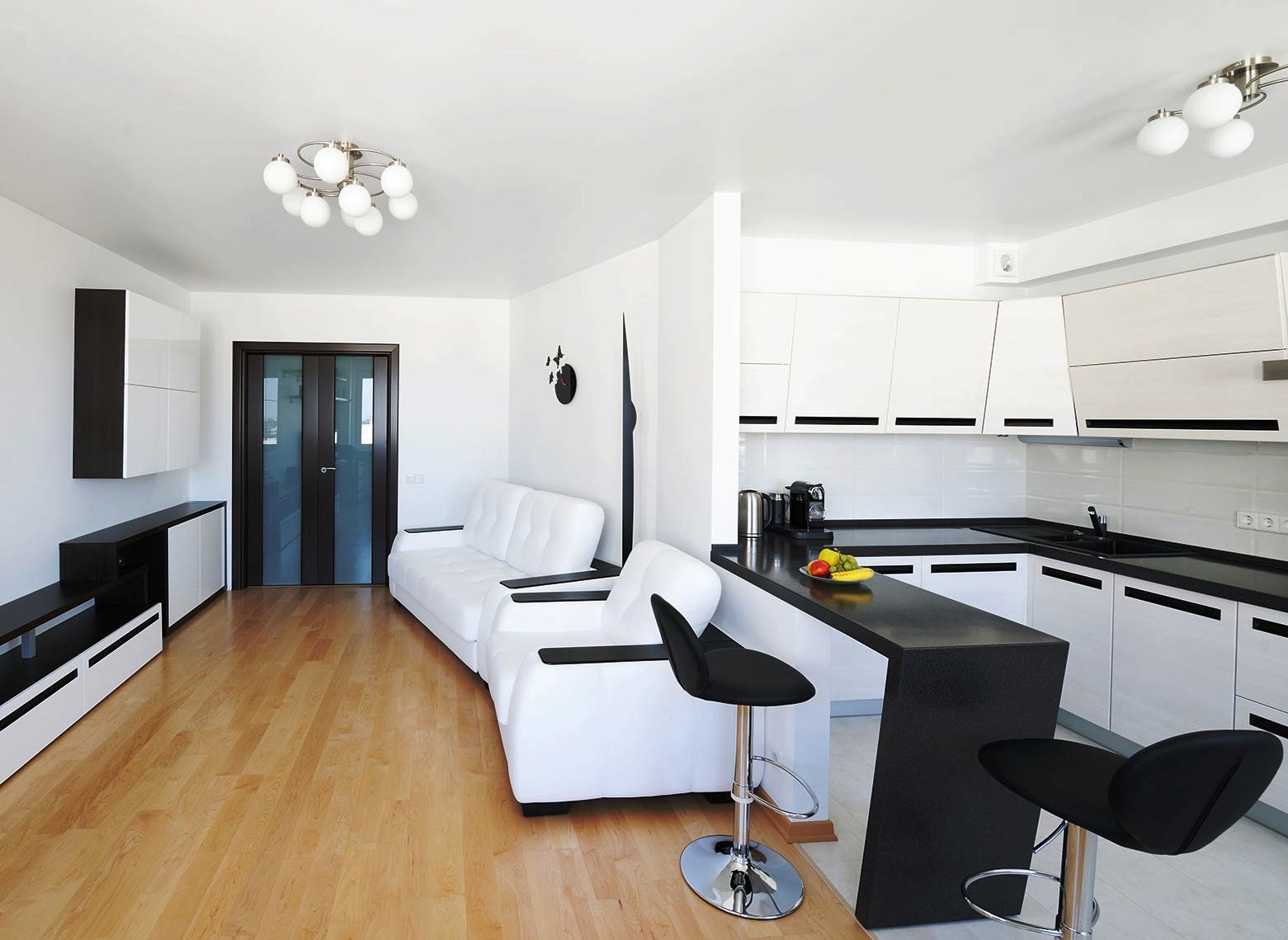 Черно-белая гостиная-кухня