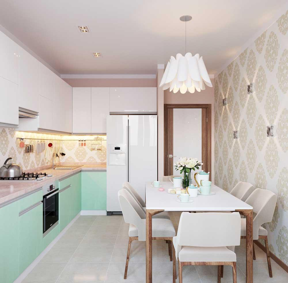 Бело-мятный фасад кухни