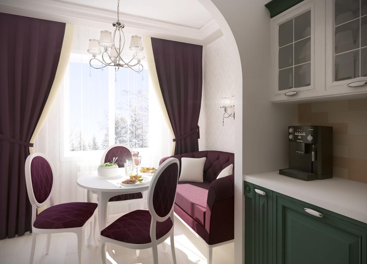 Бордово-белая кухня 8 кв м