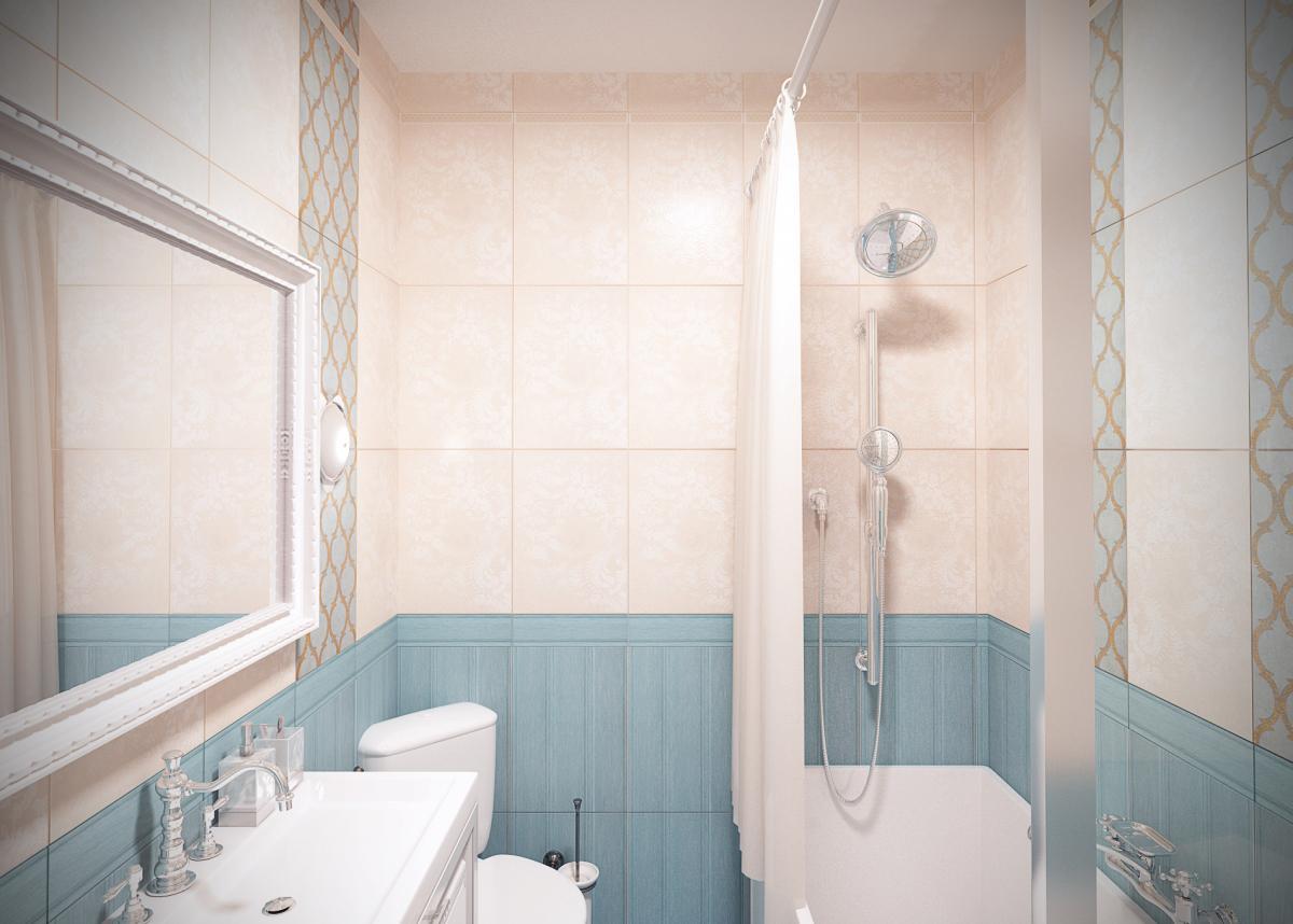 Бело-голубая ванная комната