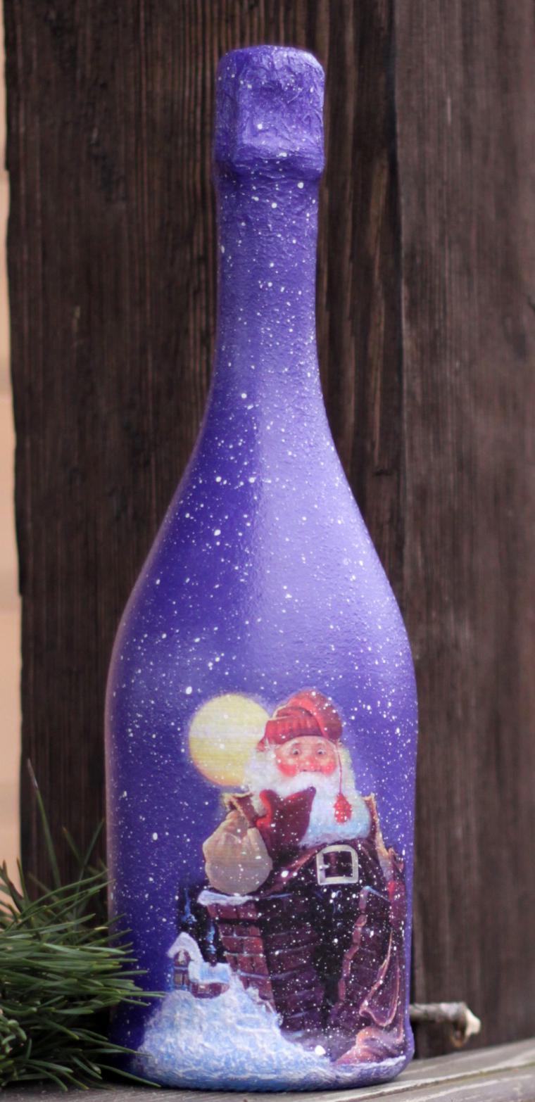 Декупаж бутылки шампанского на новый год самодельный
