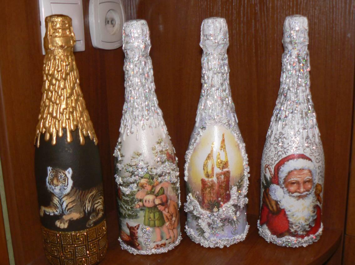 Декупаж бутылки шампанского новогодний