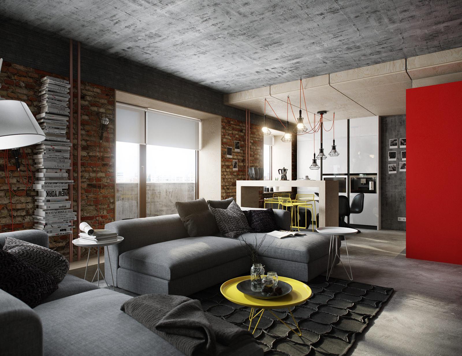Первый этаж двухуровневой квартиры в стиле лофт