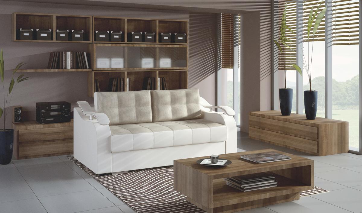 Выкатной кожаный диван
