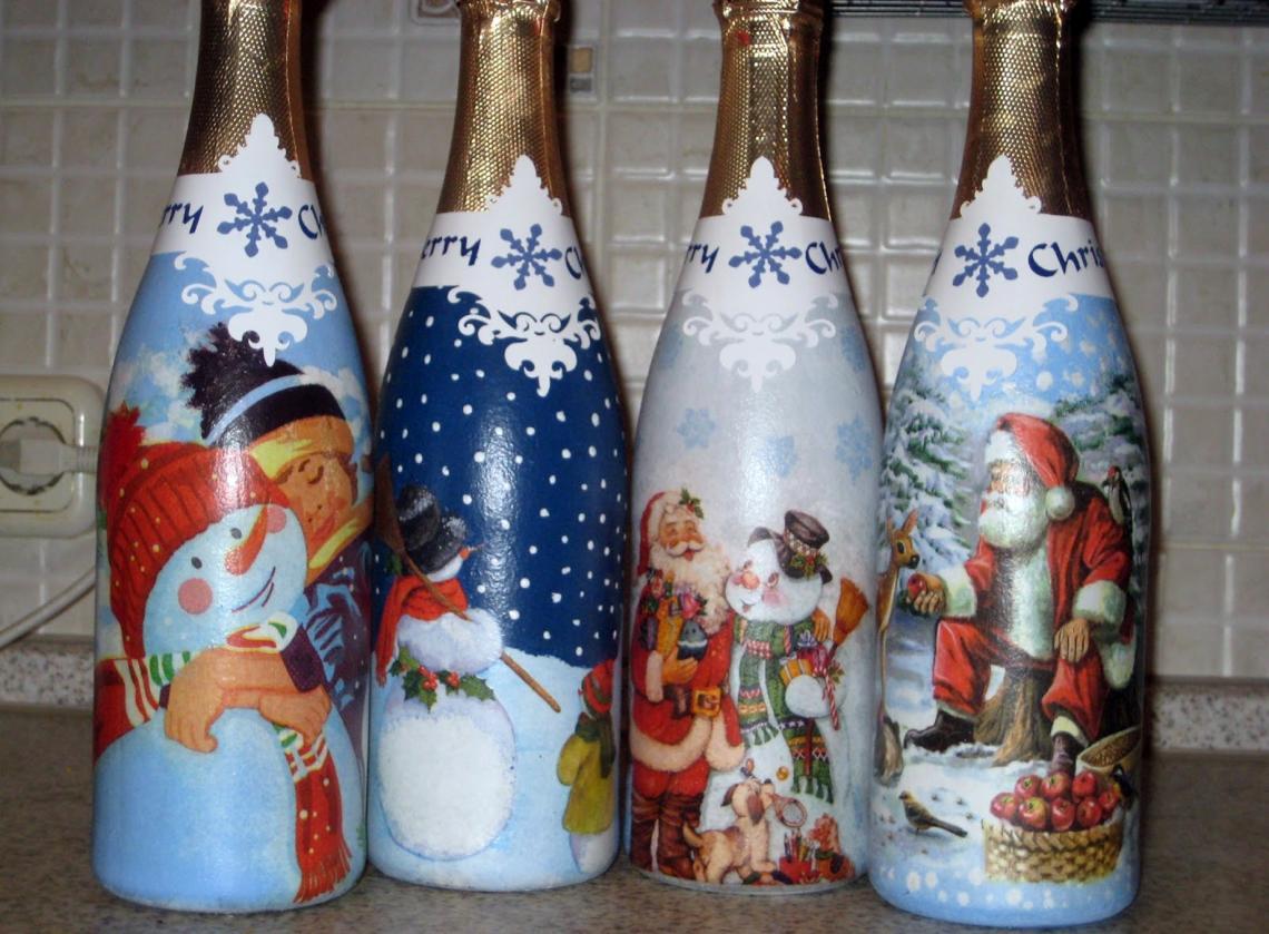 Декупаж бутылки шампанского зимний
