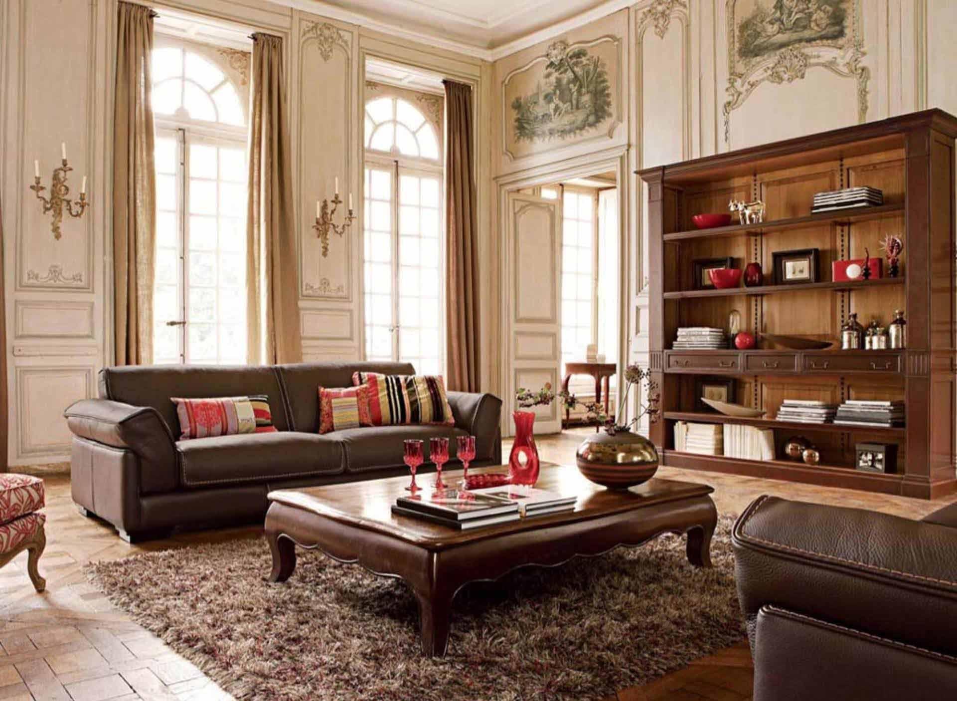 Бежево-коричневая гостиная в классическом стиле