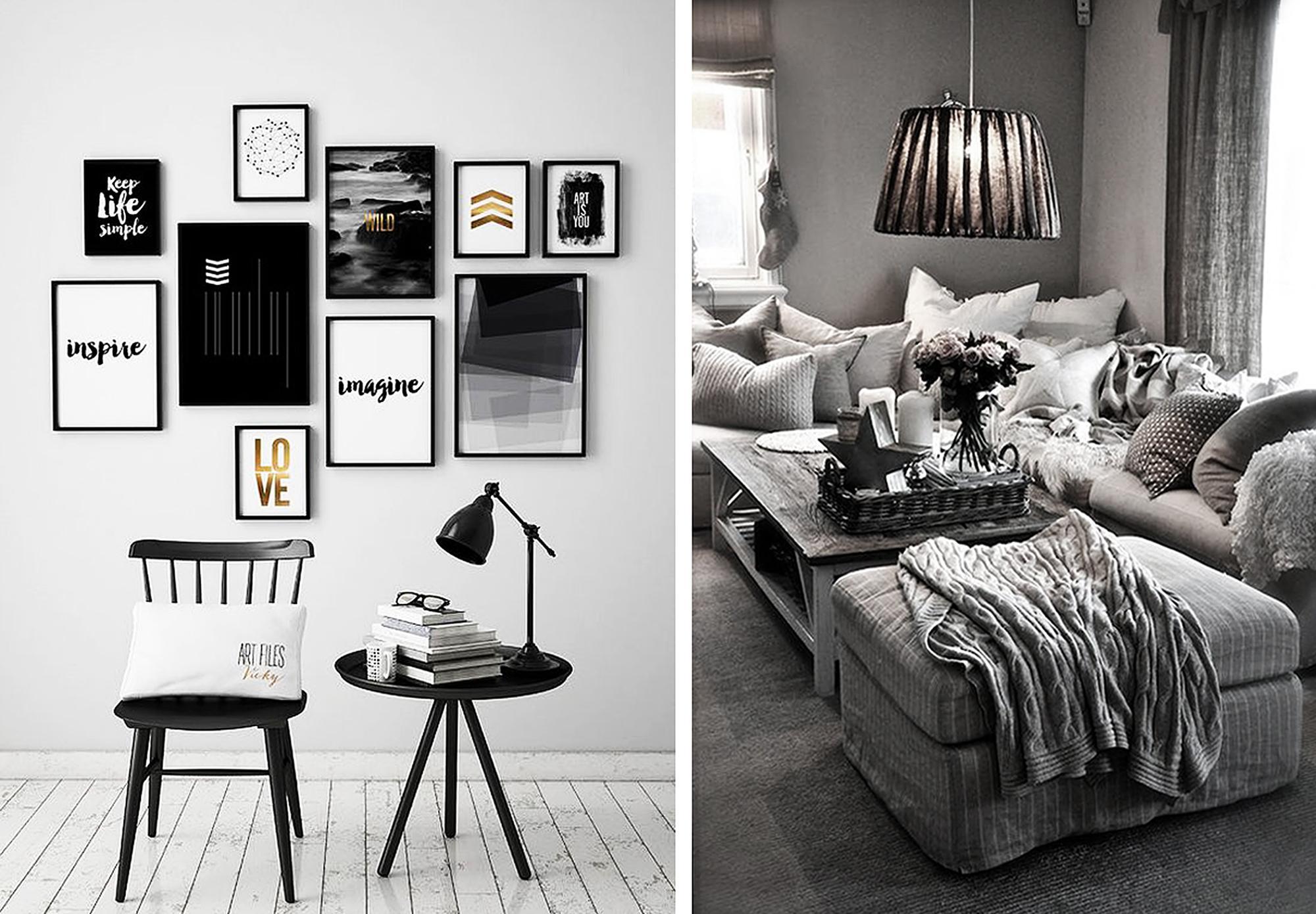 Черно-белые интерьеры гостиных
