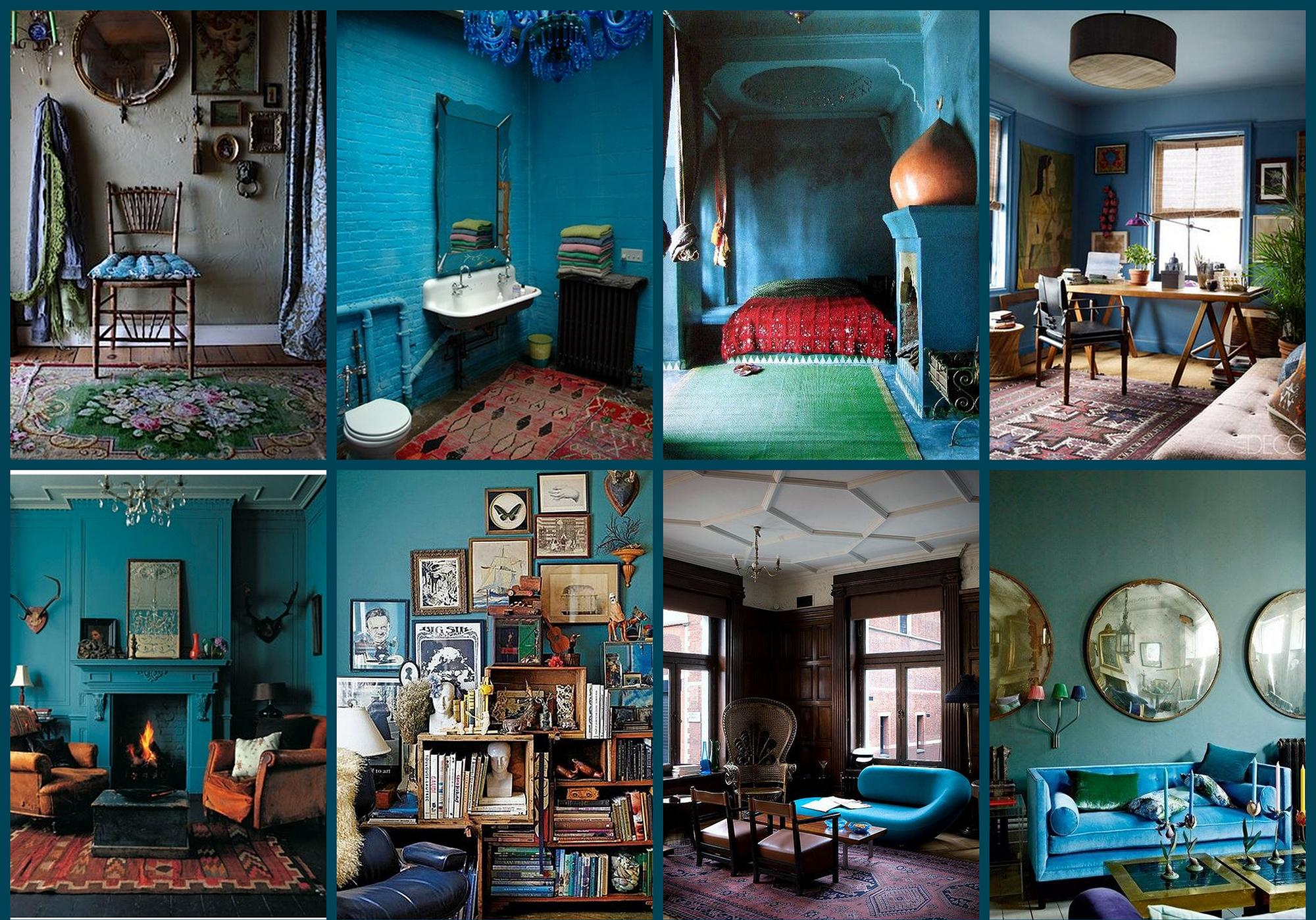 Синий цвет в интерьерах в стиле бохо
