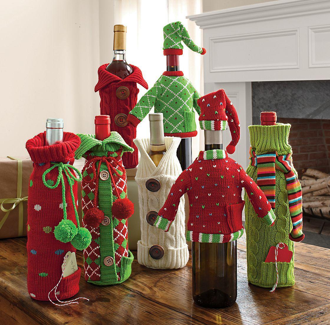 Вязаный декор для бутылок