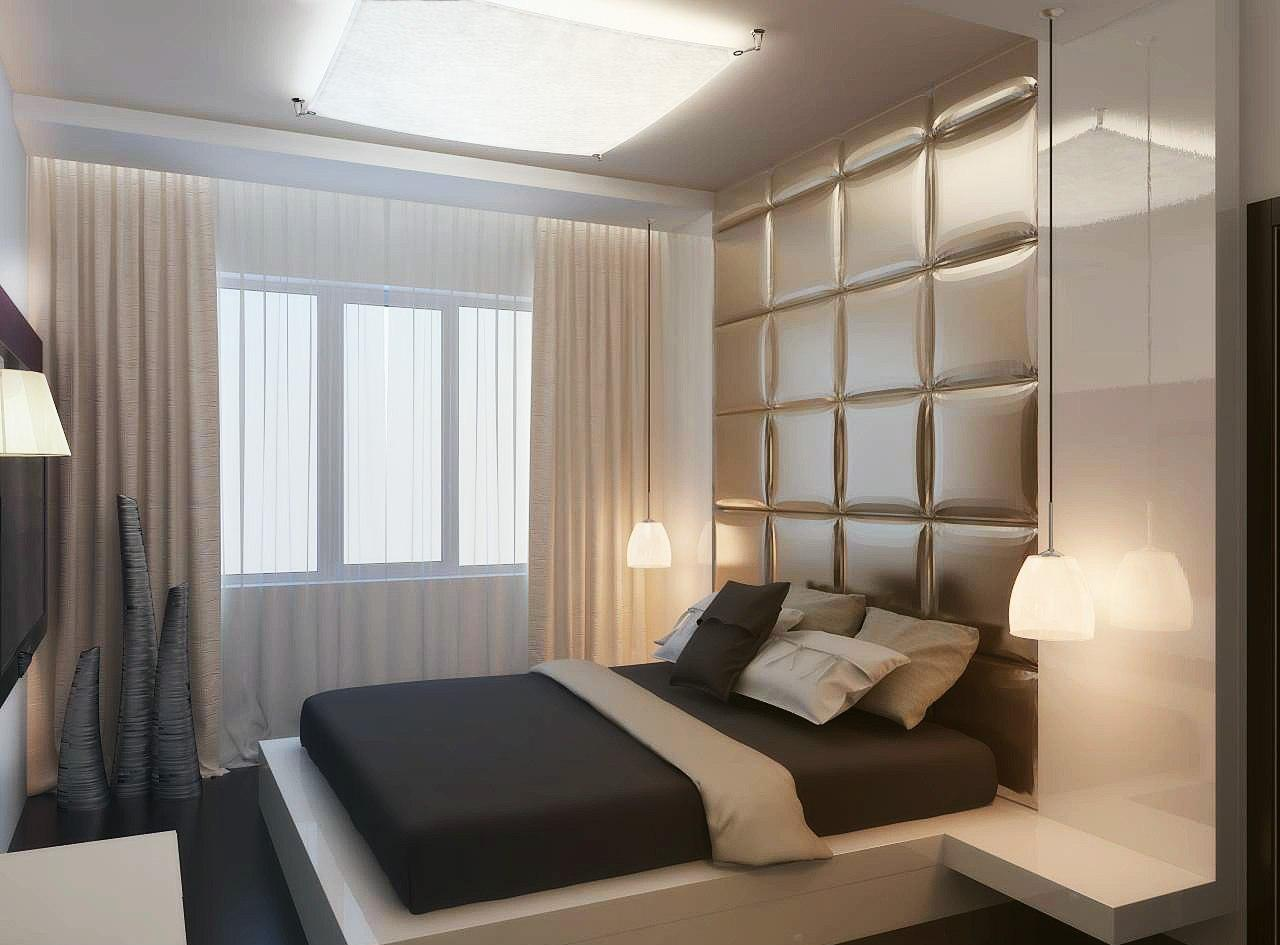Бежевый, коричневый и белый цвета в спальне