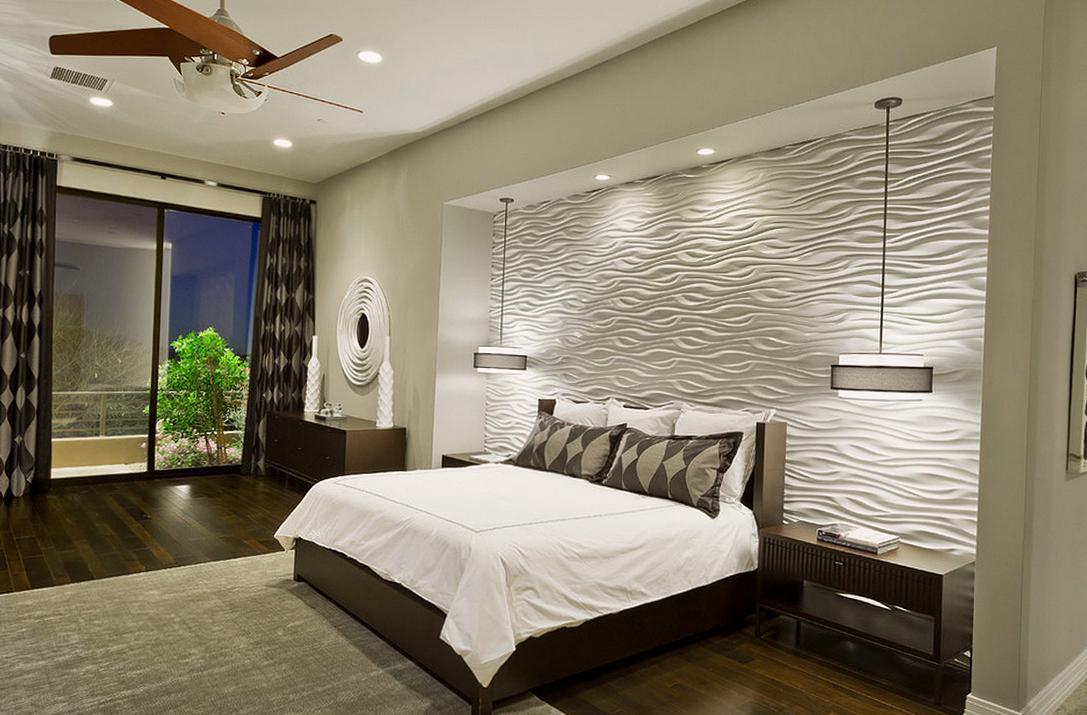 Коричнево-белая классическая спальня