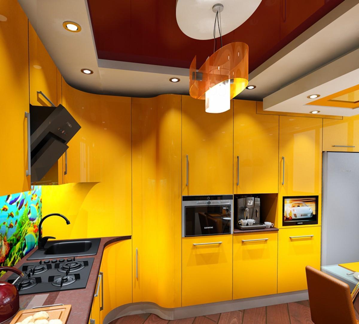 Радиусная желтая кухня