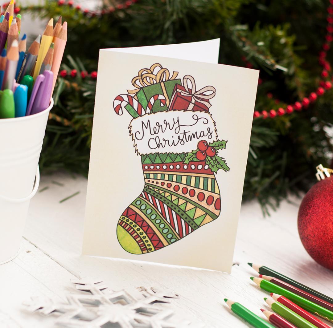 Новогодняя открытка с носком