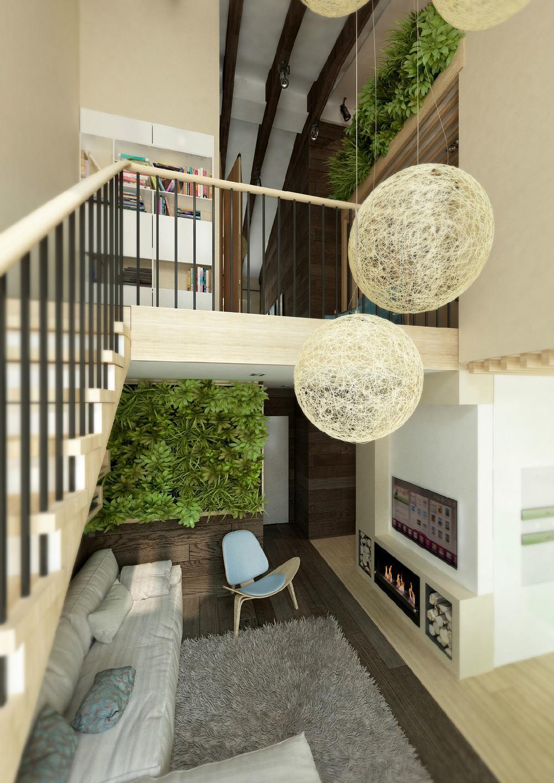Трава в интерьере частного дома