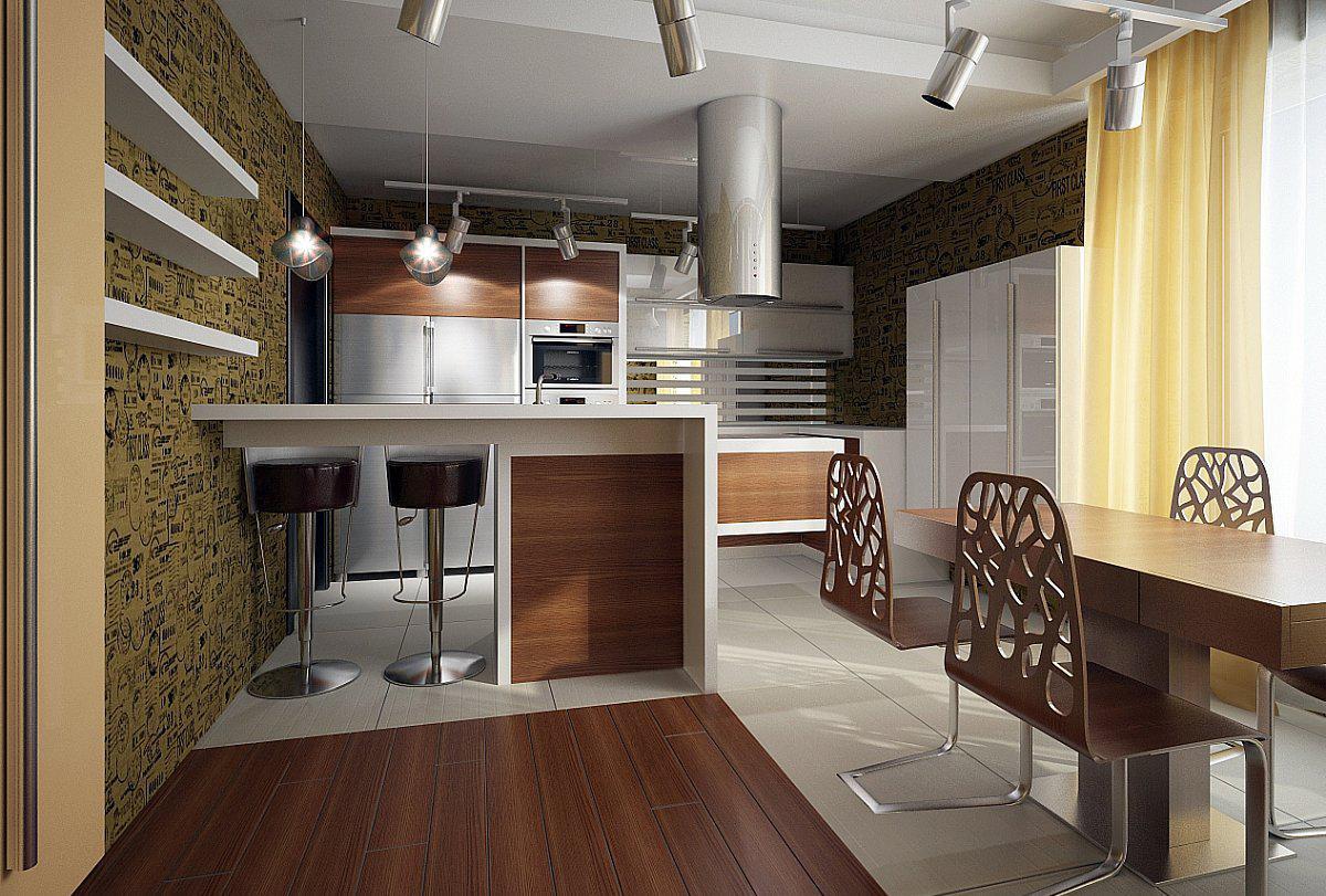 Кухня в частном доме в стиле минимализм