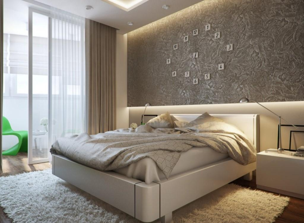 Бело-серая уютная спальня