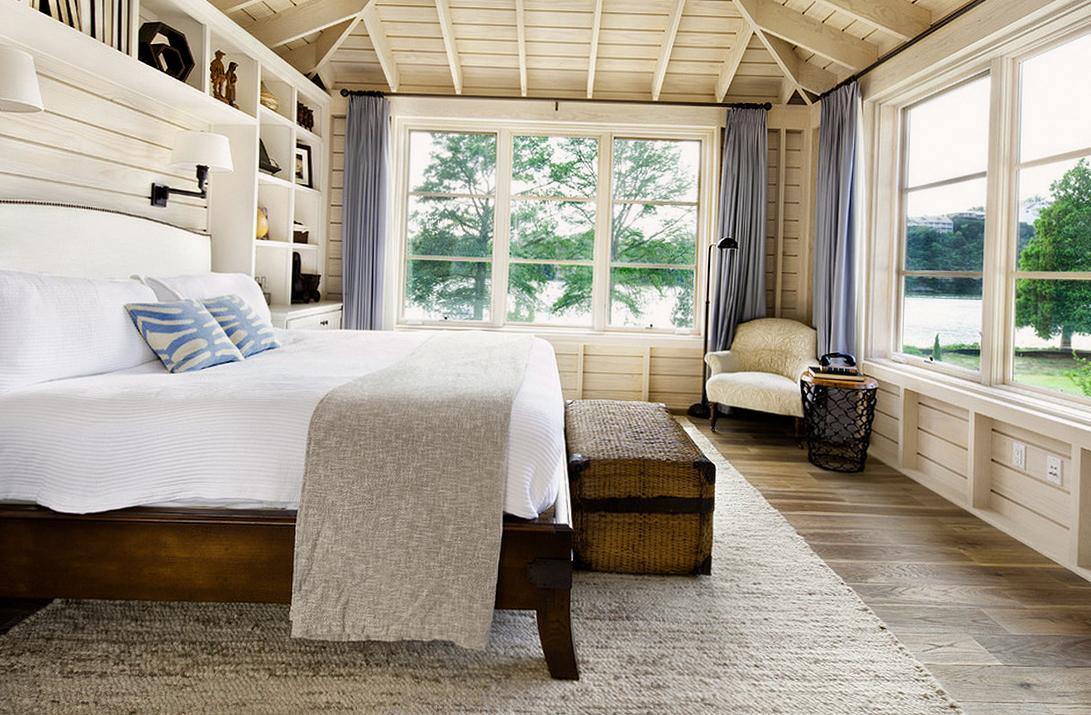 Спальня в стиле кантри в бежевых тонах
