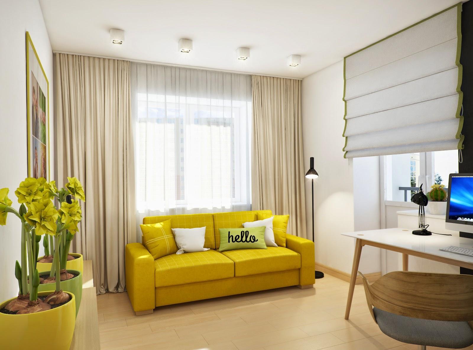 Желтый диван и цветочные горшки в кабинете