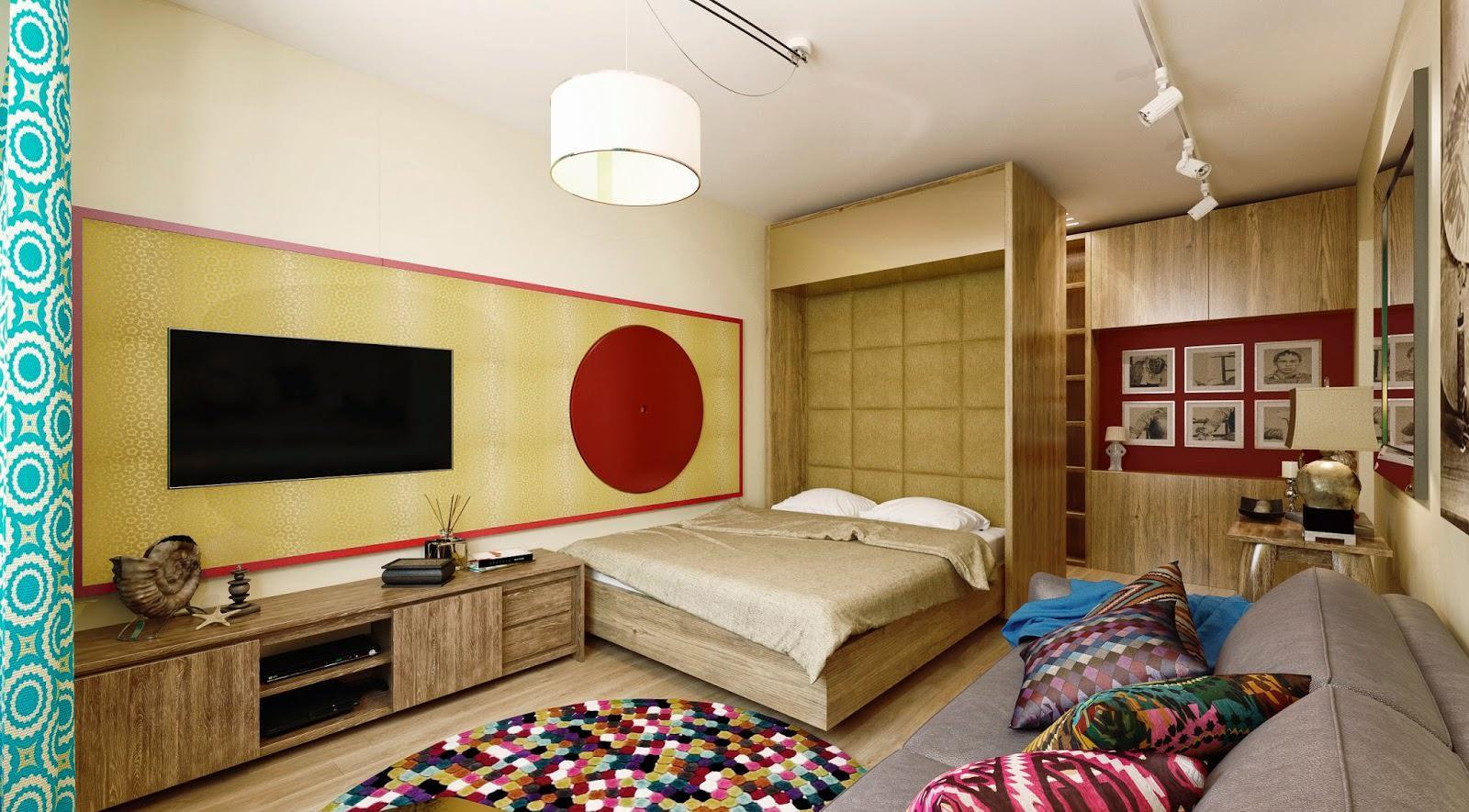 Белый потолок в разноцветной спальне