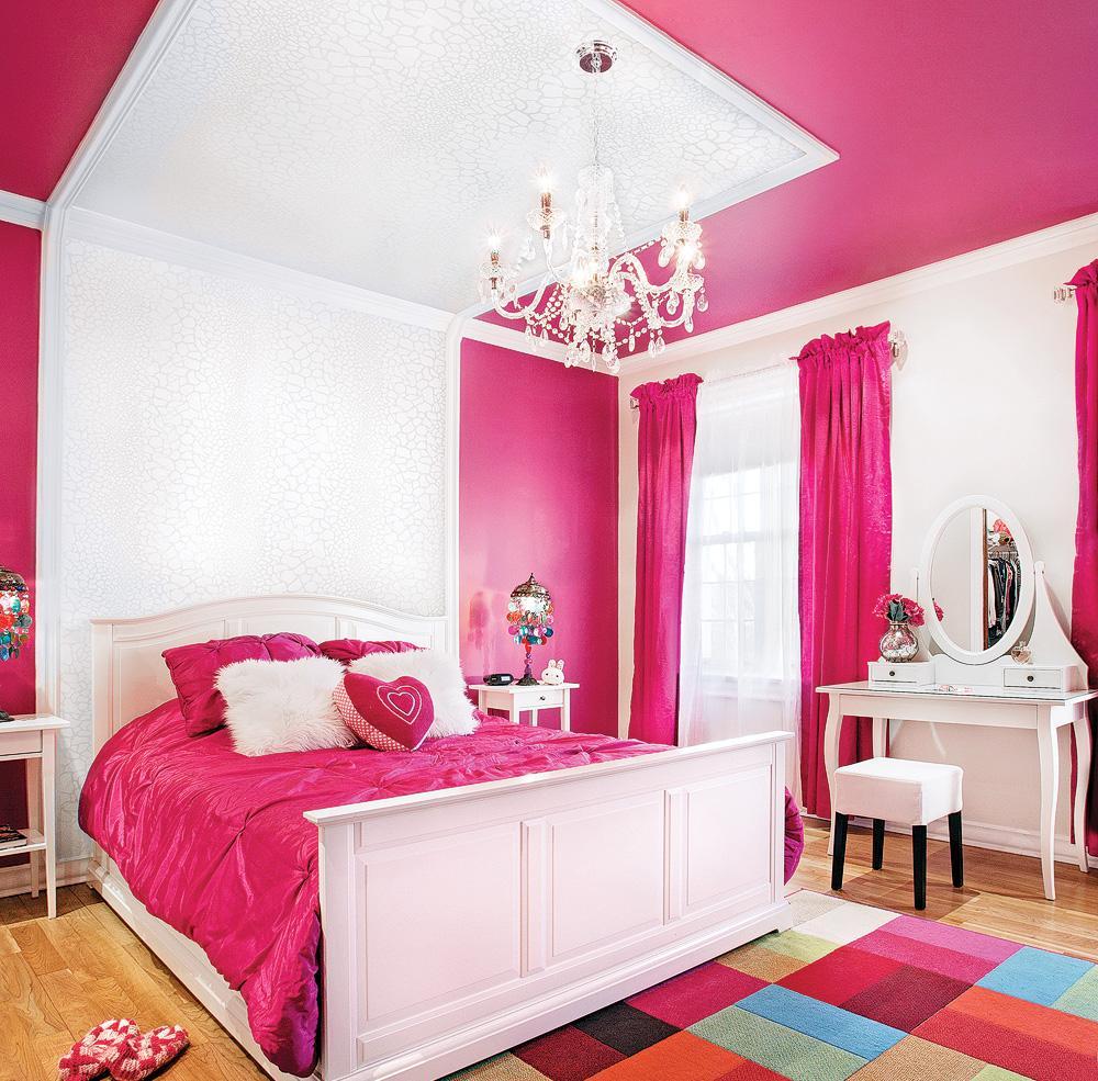 Дизайн спальни 18 кв м розовый