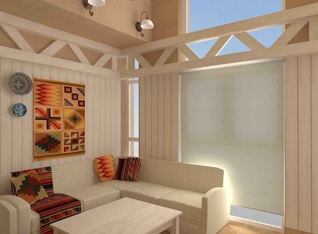 Комната отдыха в бане в этно стиле