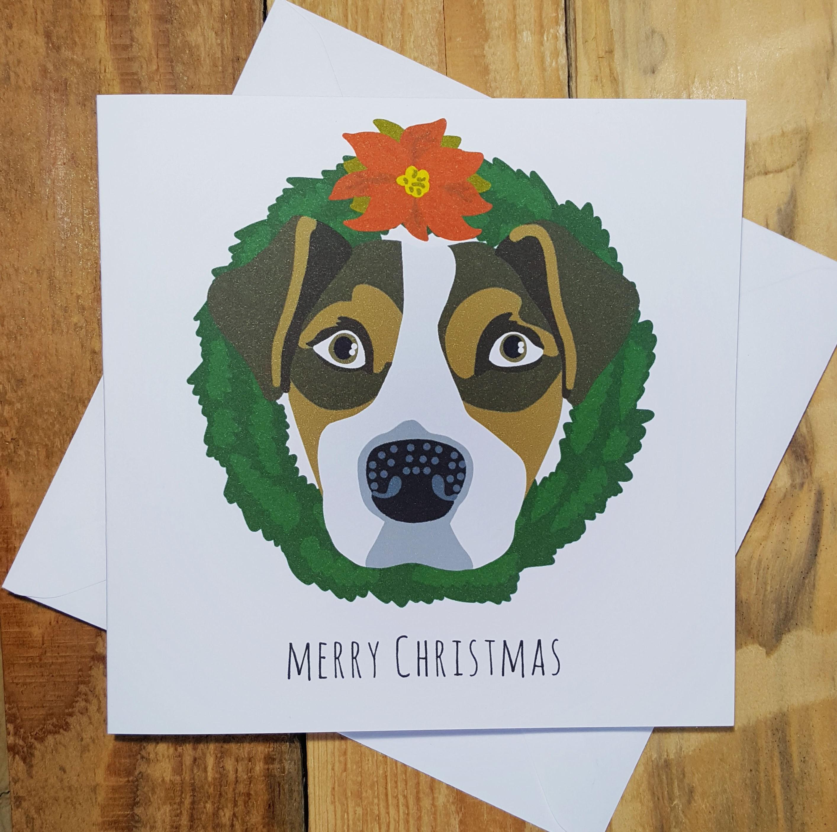 Новогодняя открытка с рисунком собаки