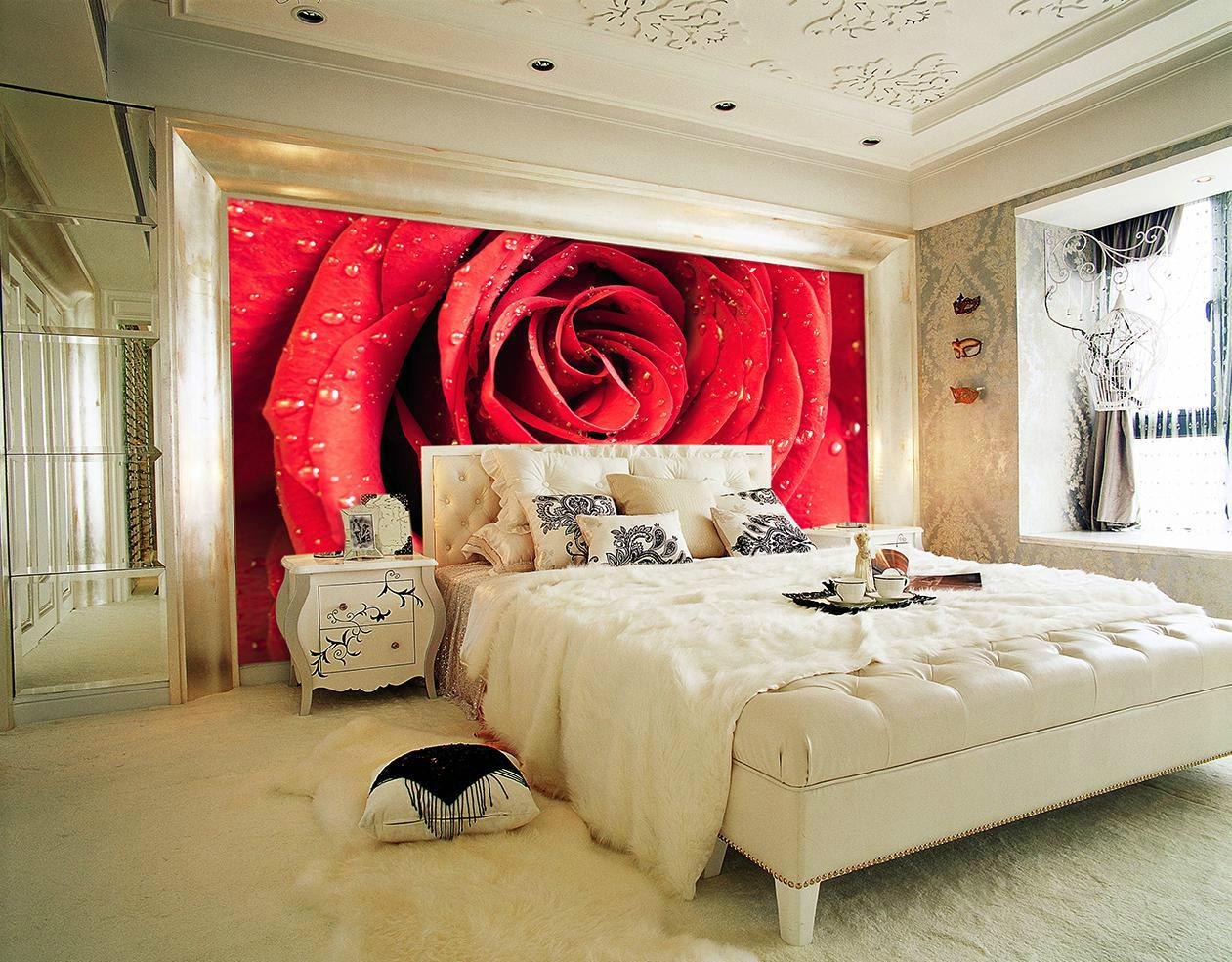 Фотообои с красной розой в спальне