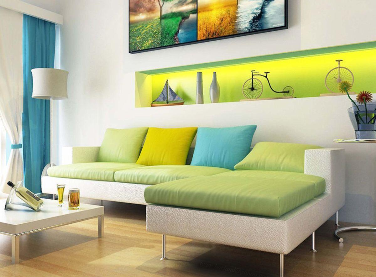 Зелено-голубое сочетание цветов в интерьере