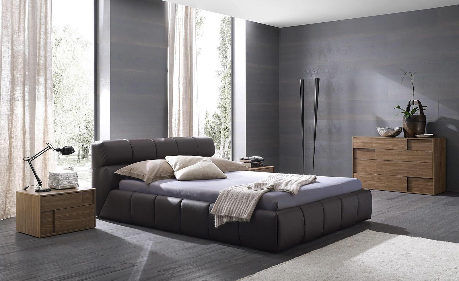 Черно-серая минималистичная спальня