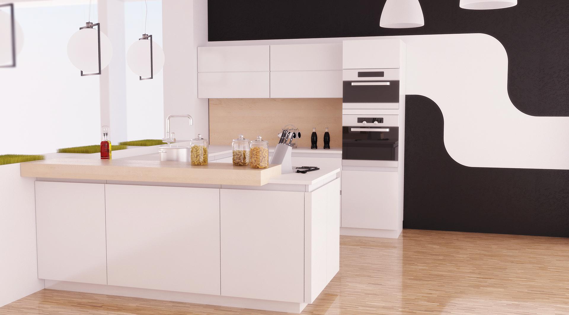 Черное-белые флизелиновые обои на кухне
