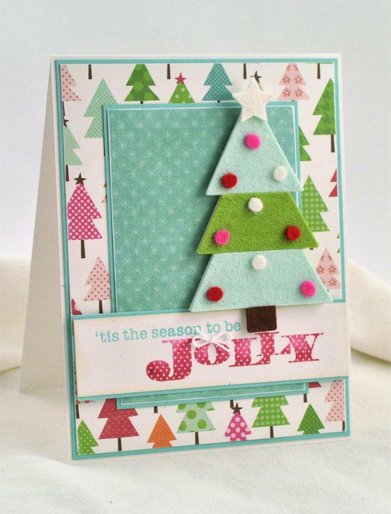 Новогодняя открытка с елочкой из фетра