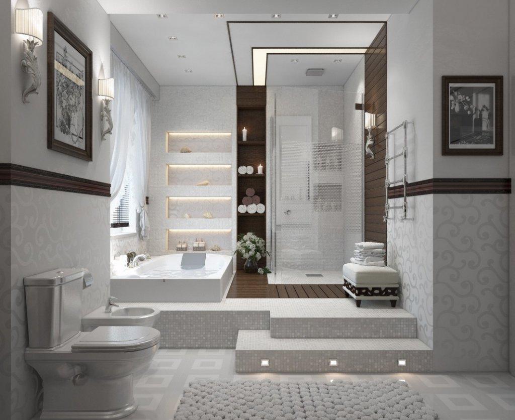 Душ без поддона в стильной ванной