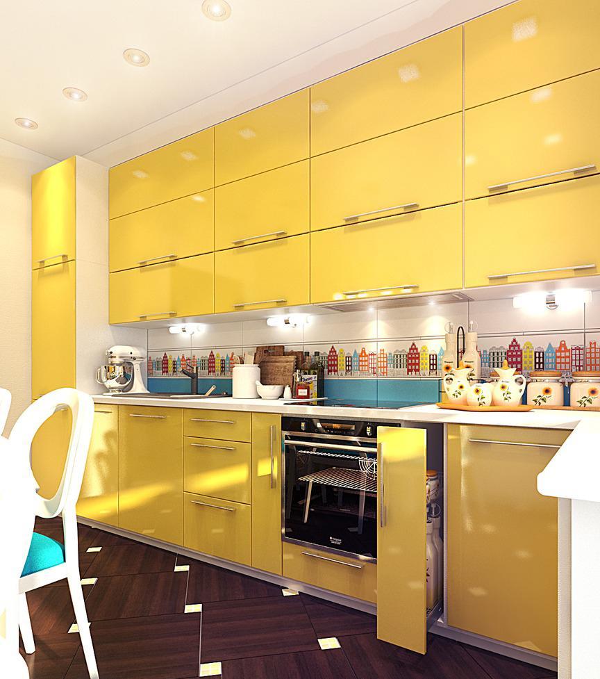 Желтая кухня с красивым фартуком