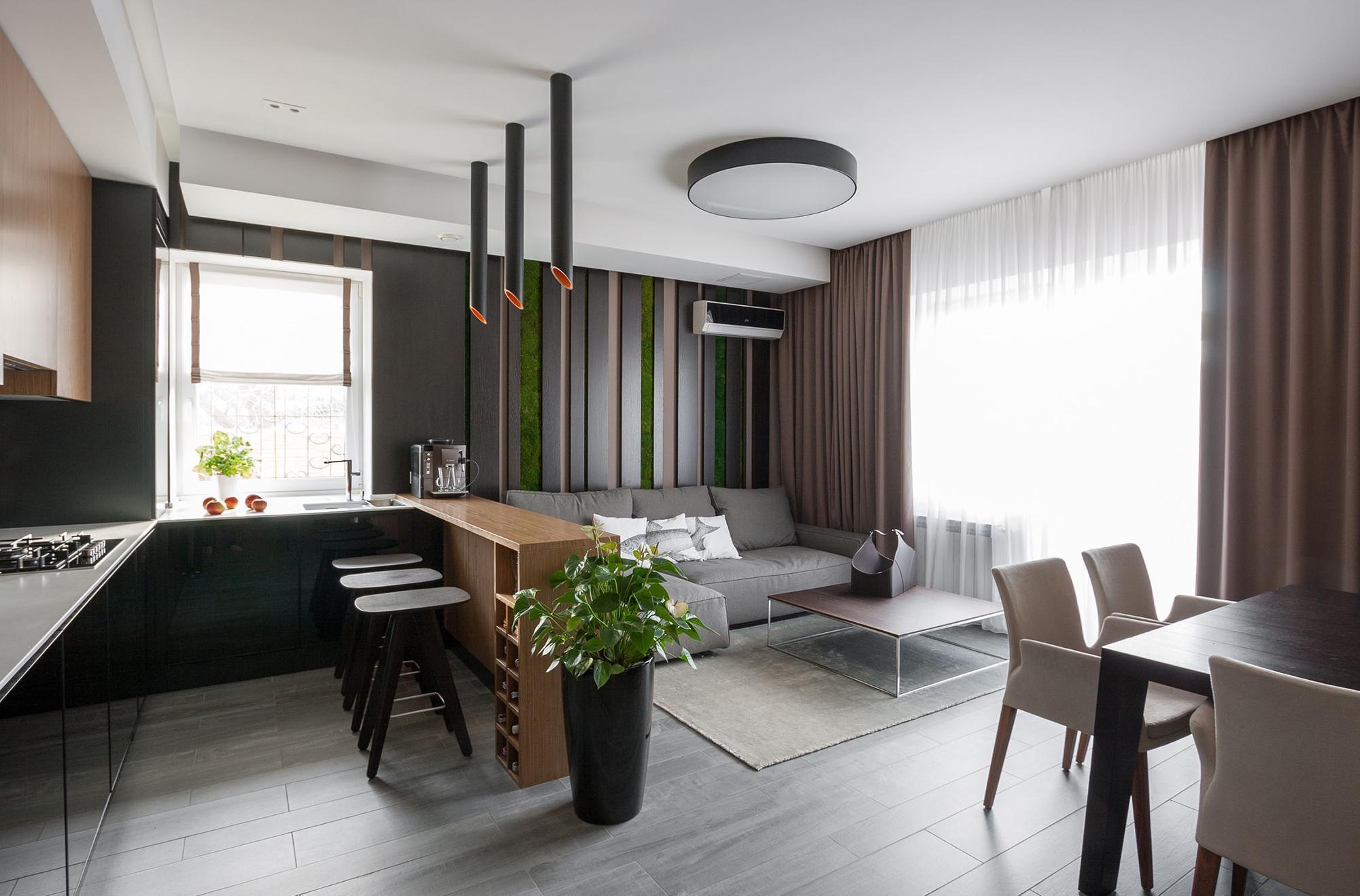 Совмещенная гостиная-кухня в стиле минимализм