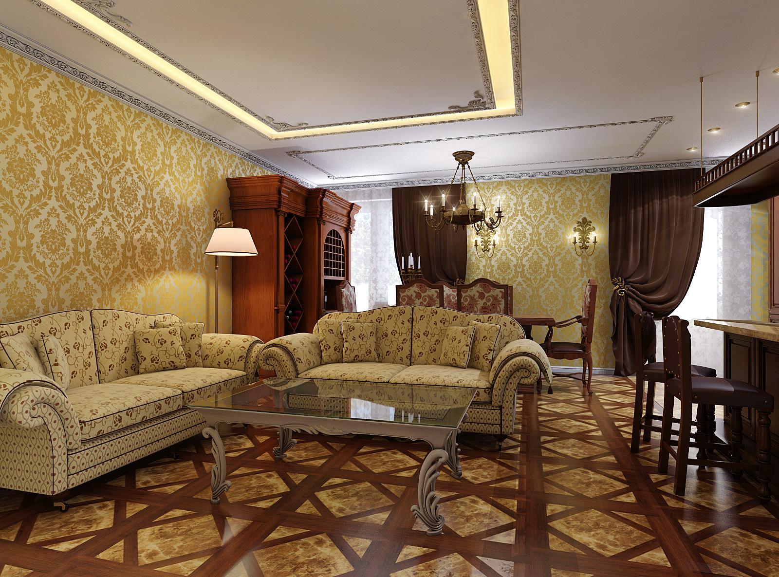 Классическая гостиная в загородном коттедже