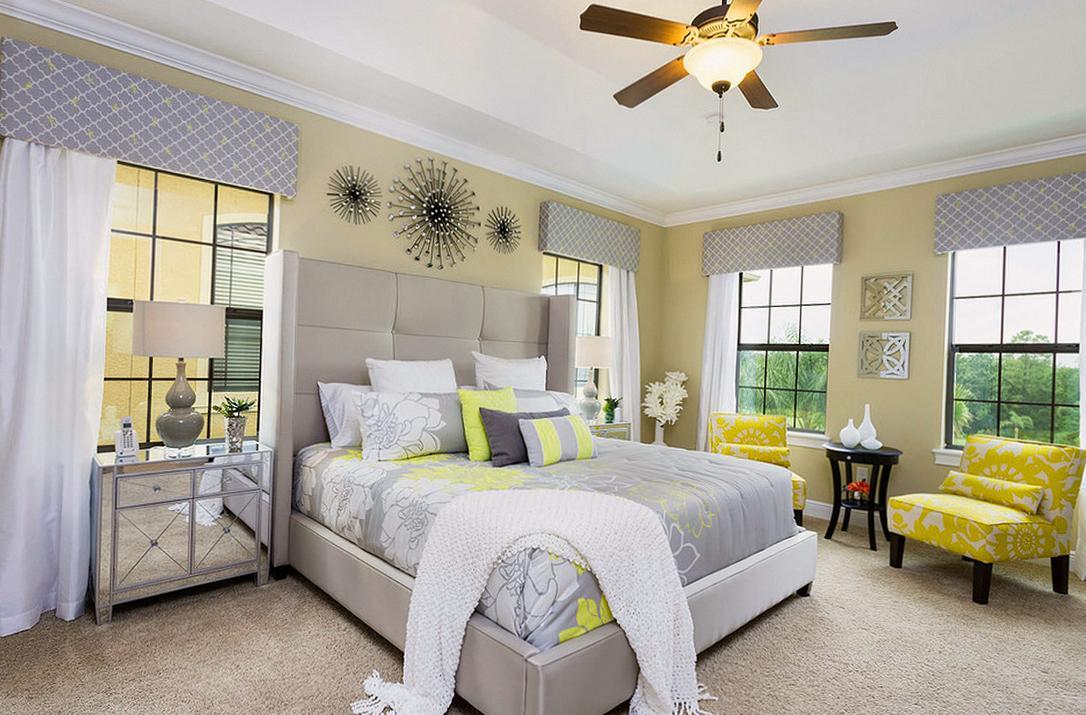 Стены оливкового цвета в спальне