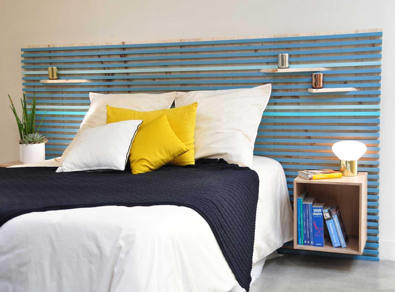 Оформление изголовья кровати в стиле модерн