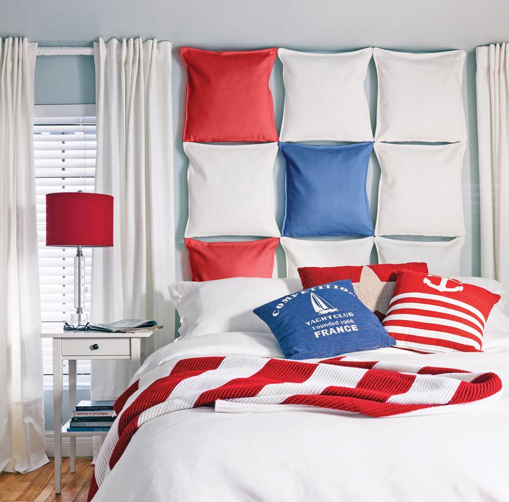 Оформление изголовья кровати подушками