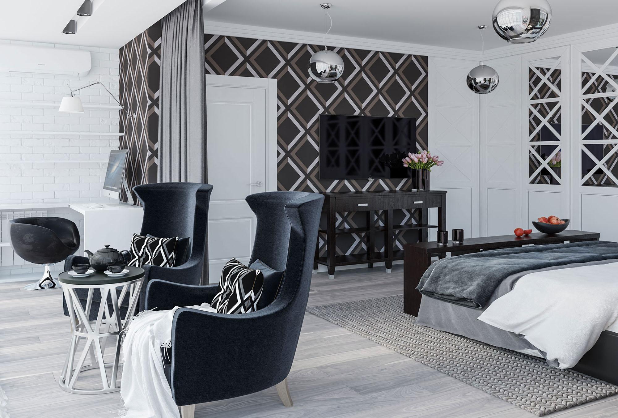 Совмещенная спальня, гостиная и рабочее место