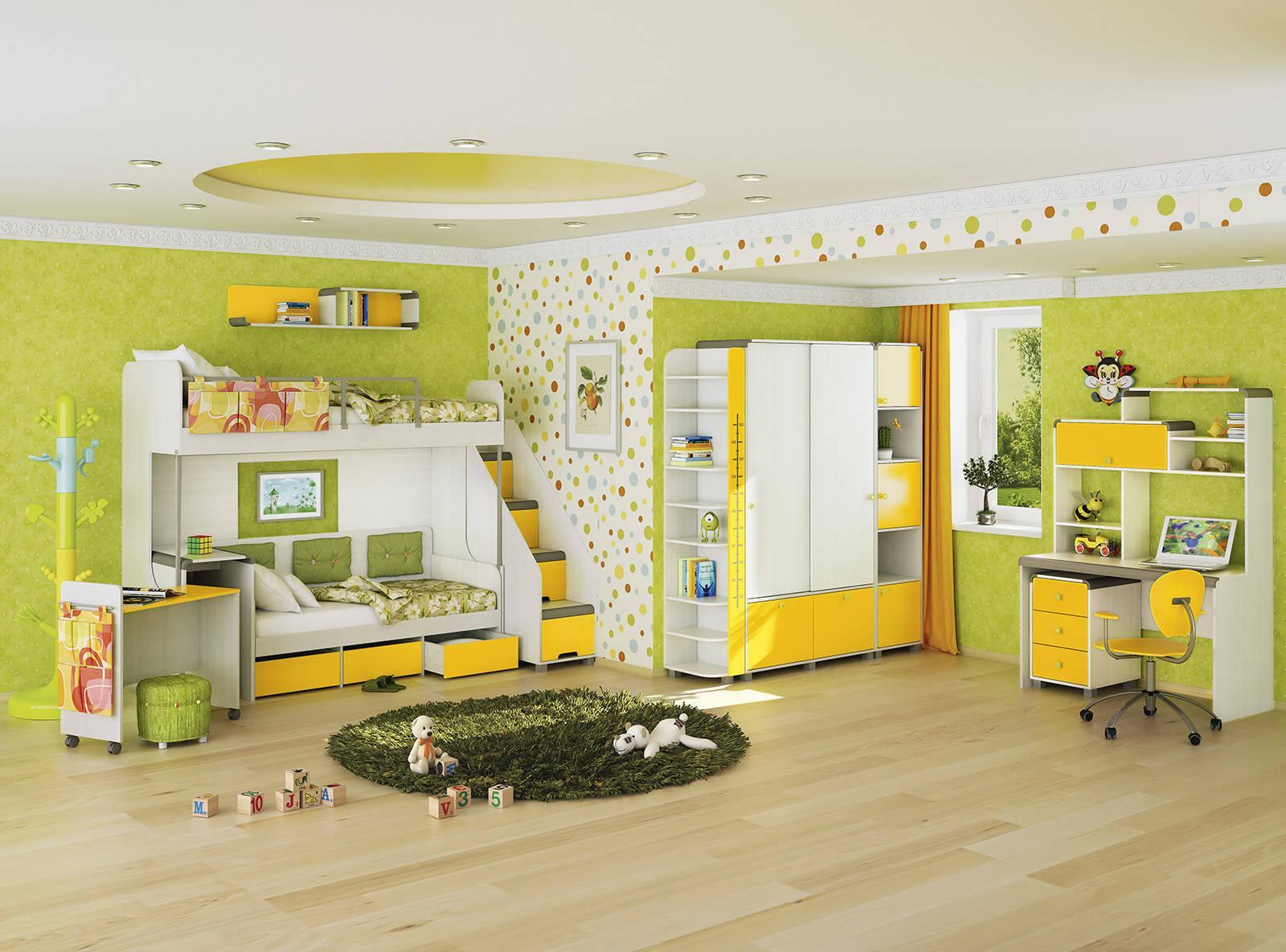 Желто-зеленая просторная детская для двух детей